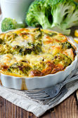 Casserole with broccoli and fish — Stock Photo