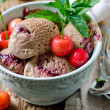 Chocolate ice cream with cherries and mint — Foto Stock