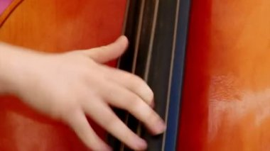 Man fast playing double bass — Stock Video