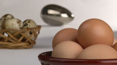 Organic and Genetically modified food, eggs. — Stock Video
