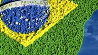 Brazil map and flag, art work — Stock Video