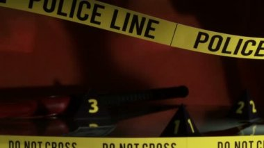 Crime Investigation, police line — Stock Video