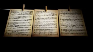 Sheet music, notes, 3 pages — Stock Video