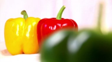 Vegetables, three-color peppers — Stock Video