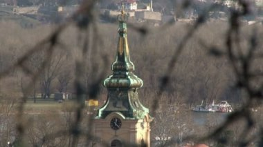 Barbed wire, Belgrade, tower, Kalemegdan — Stock Video