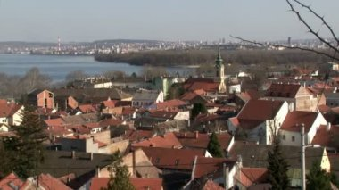Belgrade, Zemun, Danube river — Stock Video