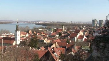 Belgrade, Zemun, pan right, city