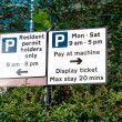 Stock Photo: Sign of Parking restrictions in England UK