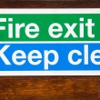 Sign for Fire Exit keep clear — Zdjęcie stockowe