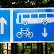 Sign on a British road for Bus and cycle lane on a metal frame — Stock Photo