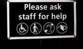 Sinal de alerta para deficientes por favor pede pessoal ajuda — Foto Stock