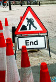 Street sign for end of road construction work — Stock Photo