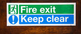 Sign for Fire Exit keep clear — Foto Stock