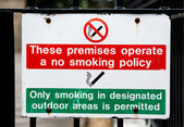 No smoking on premises sign, only smoke in designated areas — Stock Photo