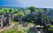 Aerial View of warwick castle (panoramic photo) — Stock Photo