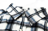 Stylish image of collar of chequered shirt — Stock Photo