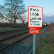 Stock Photo: Beware of trains sign, Stop, Look, Listen