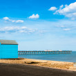 Bright Beach Huts at Felixstowe, Suffolk, England, UK — Stock Photo #26476569