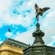Piccadilly Circus with statue of Anteros aka Eros in London, UK — Stok fotoğraf