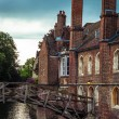Mathematical bridge in spring over Cam river, Cambridge, England — Stock Photo