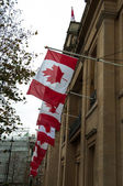 A row of Canadian flags outside Canada House in Trafalgar — Stock Photo