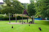 Sitting area in  Abbey gardens, Bury St Edmunds, Suffolk, UK — Stock Photo