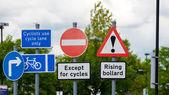 Sign for rising bollard, hazard, cylist — Stock fotografie
