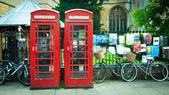 Vintage British red telephone box — Stock Photo