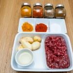 Raw ingredients of Aloo keema indian cusine — Stock Photo #49040811