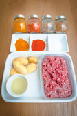 Ingredients of minced meat potato indian cuisine — Stock Photo