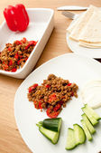 Indian cuisine pepper minced meat masala — Stock Photo