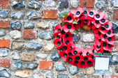 Poppy day great remembrance war world flanders hanging on a wall — Stock Photo