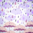 Stock Vector: Background with umbrellas and a rain