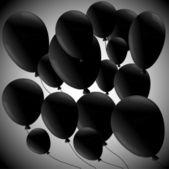 Black balloons on grey background — Stock Vector