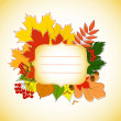 Stock Vector: Figured invitation card with autumn leaves