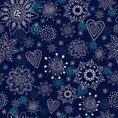 Modré bezešvé pozadí s sněhové vločky — Stock vektor