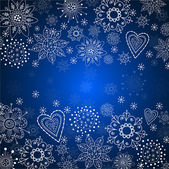 Blue cristmas background with white snowflake — Stock Vector