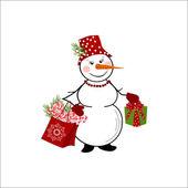 Sneeuwpop op witte achtergrond — Stockvector