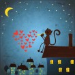 Valentines day background with cat and heart - Stock Vector