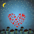 Background with night sky ,star and heart - Stock Vector