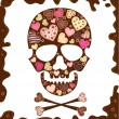 Background with skull , sweetmeat and chocolate — Stock Vector