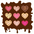 Sweetmeats in form heart on chocolate background — Stock Vector