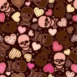 Seamless pattern with skull and sweetmeat in form heart — Imagen vectorial