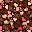 Seamless pattern with skull and sweetmeat in form heart — Stock vektor