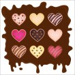Set of the sweetmeats in form heart on chocolate — Stock Vector