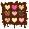 Stock Vector: Set heart-sweetmeats on chocolate