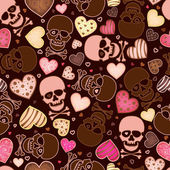 Seamless pattern with skull and sweetmeat in form heart — Stock Vector