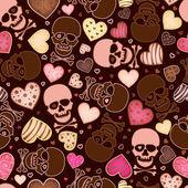 Naadloze patroon met de schedel en sweetmeat in formulier hart — Stockvector