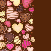 Vertical chocolate background for text with heart — Stock Vector