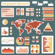 Set elements of infographics red and yellow — Stock Vector